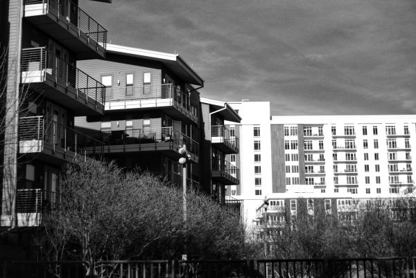 apartment buildings greyscale